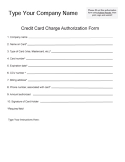 Need A Fillable Credit Card Authorization Form Bizzy