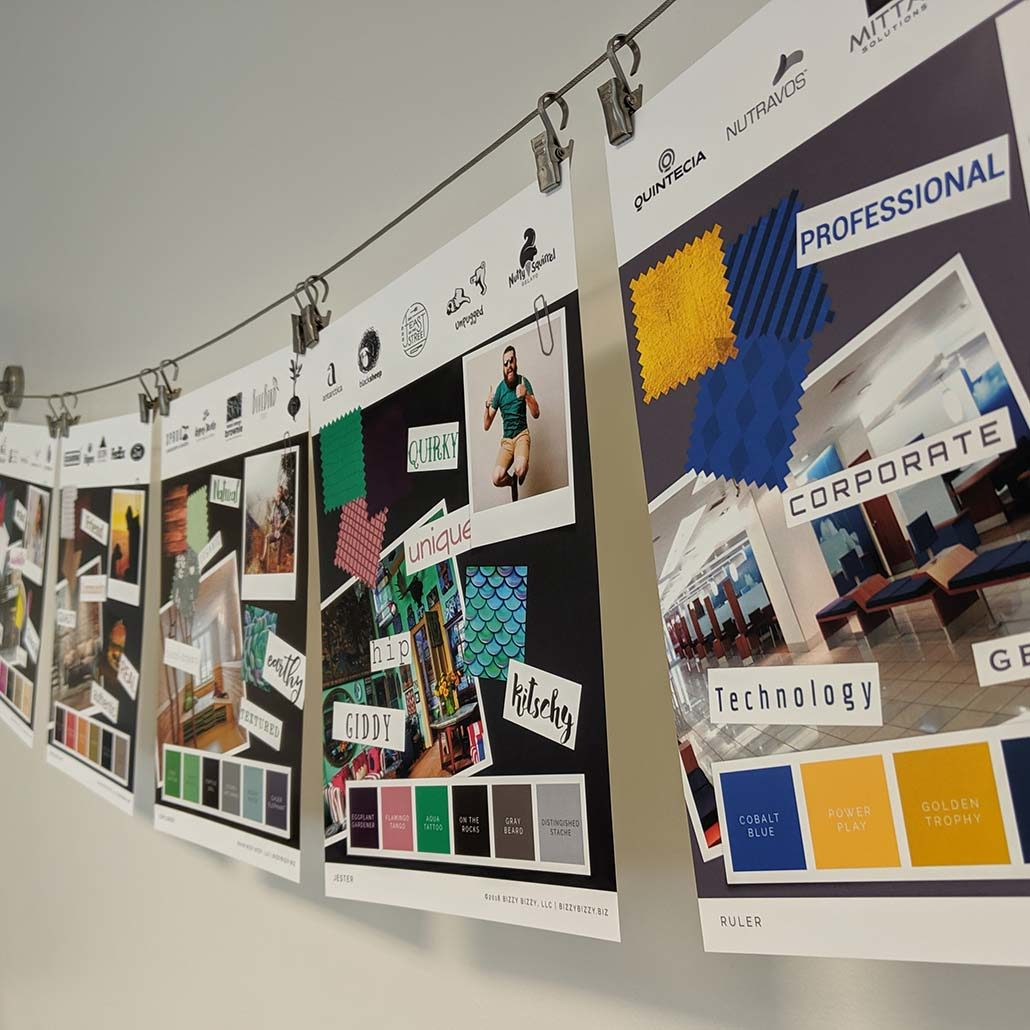 Moodboards for branding exercise based on brand archetypes