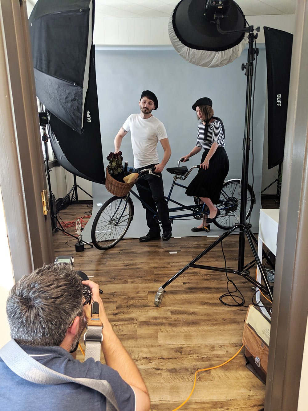 Photoshoot using a tandem bicycle