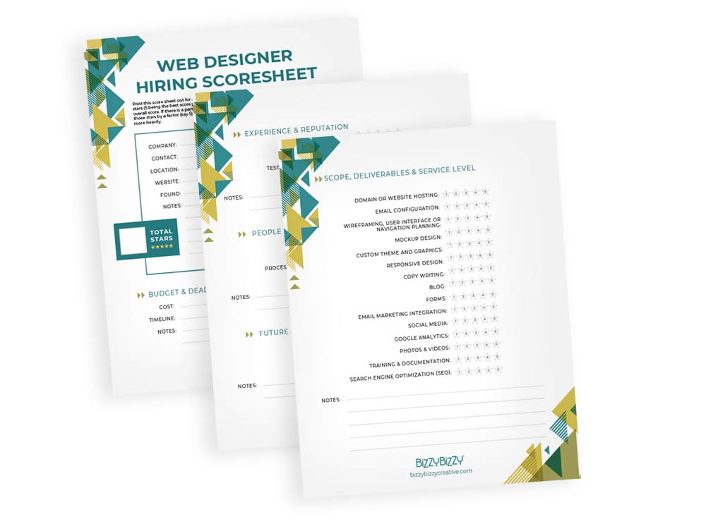 Hiring a web designers scoresheet downloadable worksheet