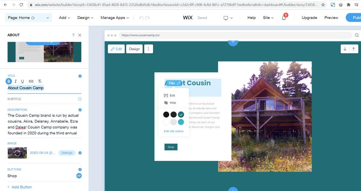 Wix website design editor interface